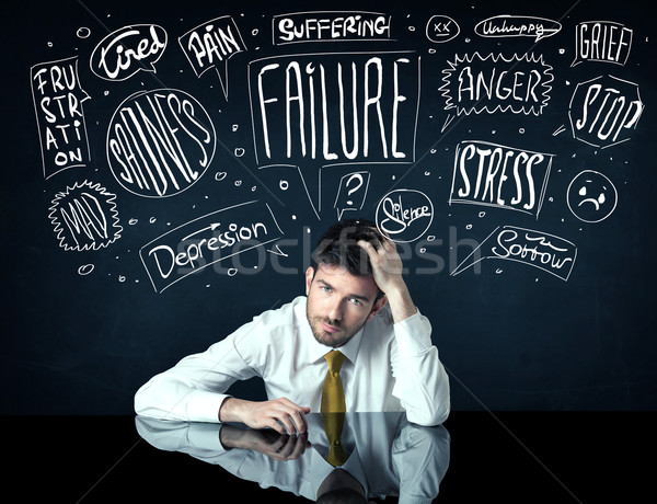Depressed businessman sitting under trouble thought boxes Stock photo © ra2studio