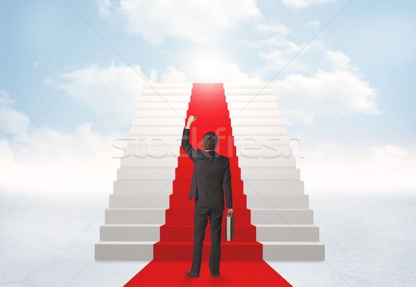 Néz lépcsősor menny üzletember égbolt férfi Stock fotó © ra2studio