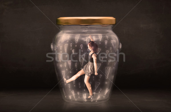 Femme d'affaires piégé jar verre triste Teen Photo stock © ra2studio