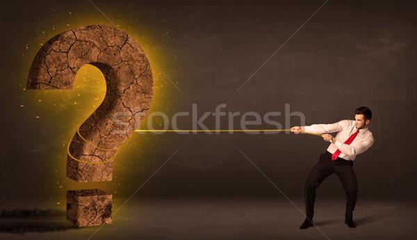 деловой человек большой твердый вопросительный знак каменные Сток-фото © ra2studio