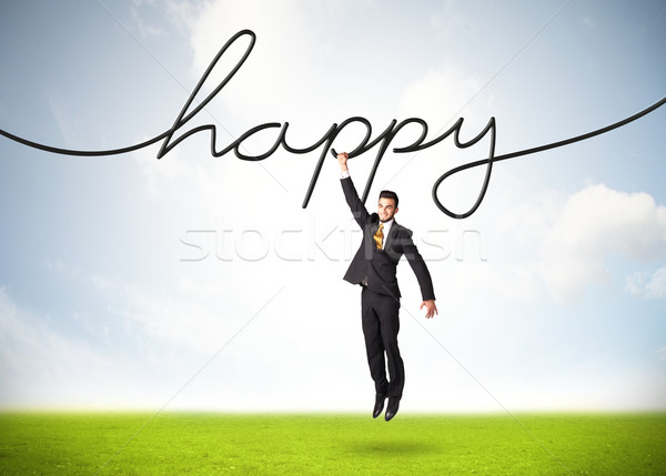 Opknoping zakenman gelukkig touw business hand Stockfoto © ra2studio