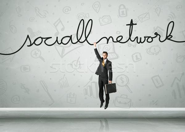 Akasztás üzletember közösségi háló kötél üzlet űr Stock fotó © ra2studio