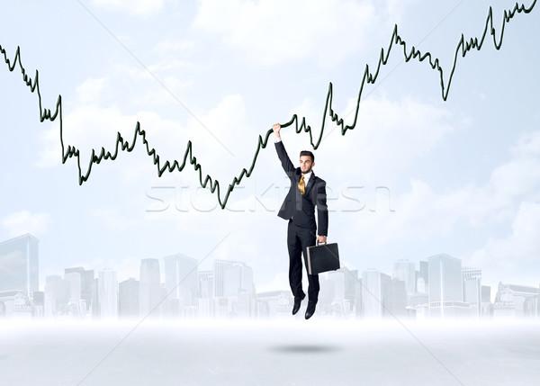 Akasztás üzletember grafikon kötél üzlet kéz Stock fotó © ra2studio
