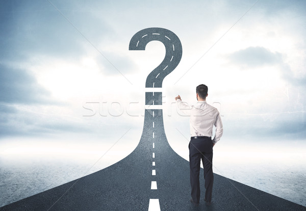 事業者 道路 疑問符 にログイン ビジネス 車 ストックフォト © ra2studio
