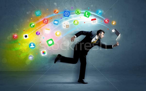 Foto stock: Ejecutando · empresario · aplicación · iconos · dispositivo · colorido