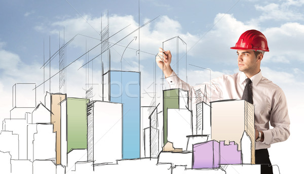 Bouwvakker planning stad zicht jonge Rood Stockfoto © ra2studio