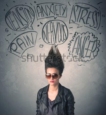 Mad młoda kobieta ekstremalnych tle piękna Zdjęcia stock © ra2studio