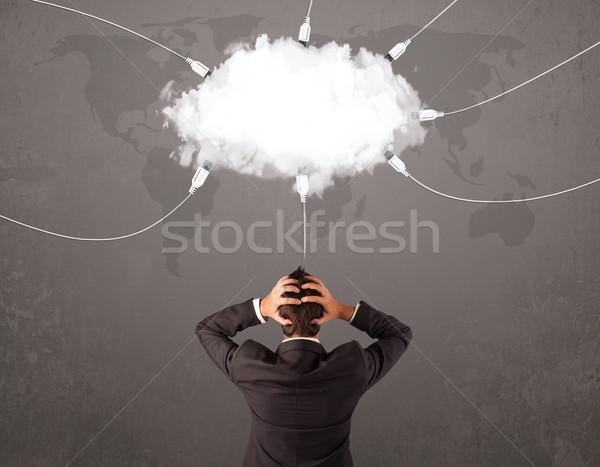 若い男 見える 雲 転送 世界 サービス ストックフォト © ra2studio