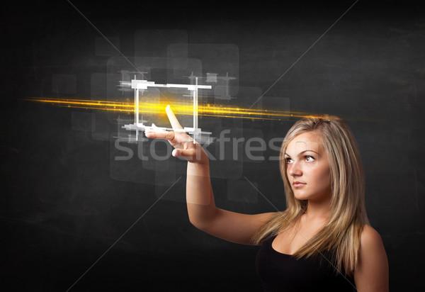 молодые Tech Lady прикасаться кнопки оранжевый Сток-фото © ra2studio