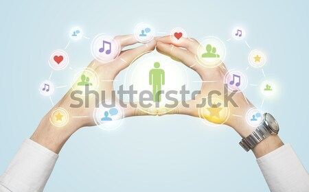 Hands creating a form with social media connection Stock photo © ra2studio