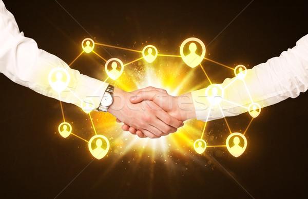 социальной связи рукопожатие бизнеса стороны Сток-фото © ra2studio