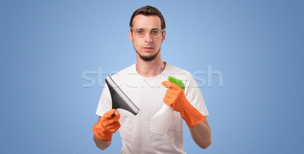 Foto stock: Governanta · azul · vazio · parede · limpeza · produto