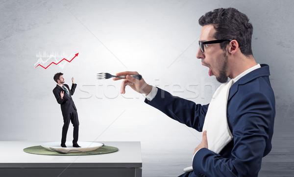 Nagy főnök eszik kicsi üzletember kés Stock fotó © ra2studio