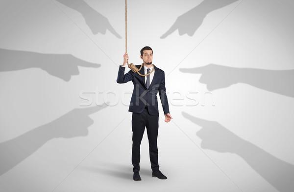 бизнесмен самоубийства указывая рук молодые стороны Сток-фото © ra2studio