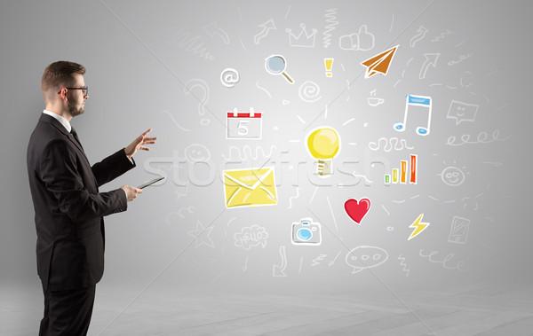 Creative thinking concept, symbols and manager Stock photo © ra2studio