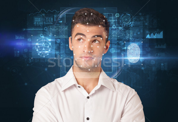 face and fingerprint detection concept Stock photo © ra2studio