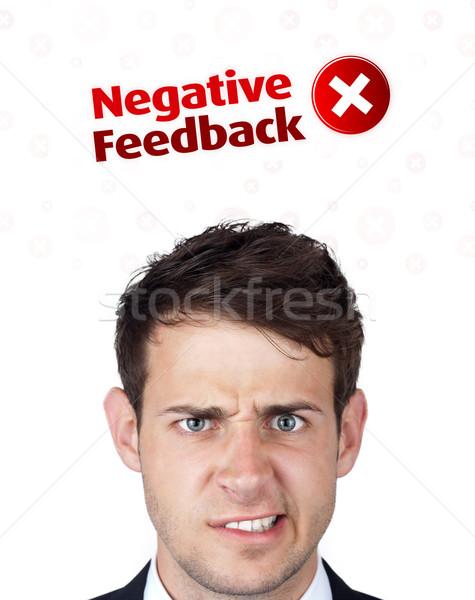 Jovem cabeça olhando positivo negativo sinais Foto stock © ra2studio