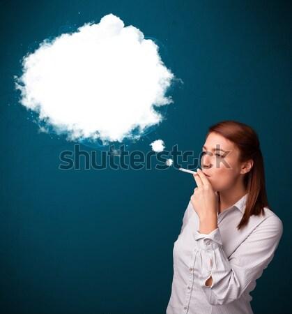 Stok fotoğraf: Genç · kadın · sigara · içme · sigara · duman