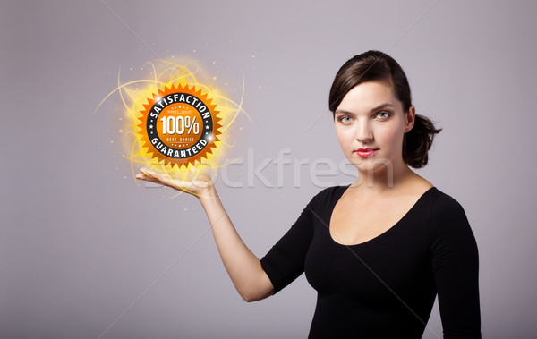 woman holding virtual business sign Stock photo © ra2studio