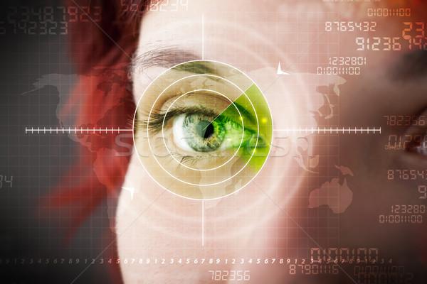 Cyber woman with modern military target eye Stock photo © ra2studio