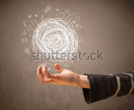 Chaos concept in the hand of a woman Stock photo © ra2studio
