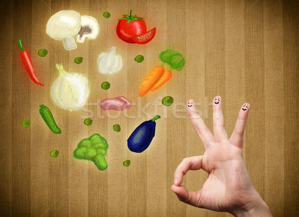 Foto stock: Feliz · rosto · sorridente · dedos · olhando · ilustração · colorido