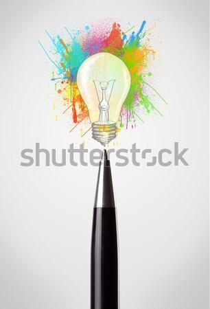 Stift Malen Spritzer Glühbirne Stock Foto Rancz