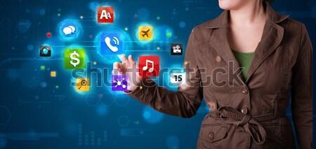 Vrouw collectie hoog tech Stockfoto © ra2studio