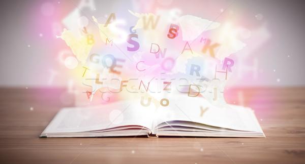 Nyitott könyv izzó levelek beton színes oktatás Stock fotó © ra2studio
