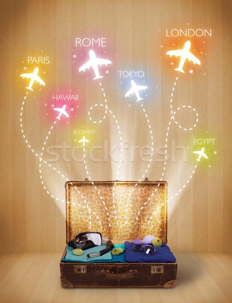 Reizen zak kleding kleurrijk vliegtuigen vliegen Stockfoto © ra2studio