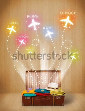 Viaje bolsa ropa colorido aviones vuelo Foto stock © ra2studio