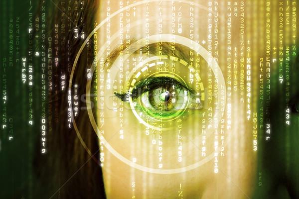 Modernen Frau Matrix Auge medizinischen Technologie Stock foto © ra2studio