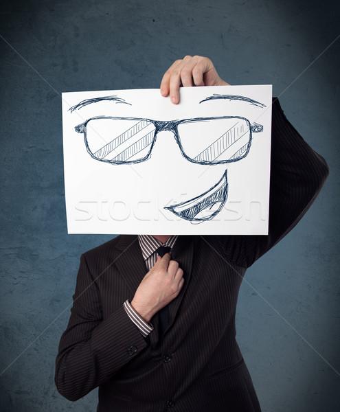 Empresario papel cara sonriente jóvenes cabeza Foto stock © ra2studio