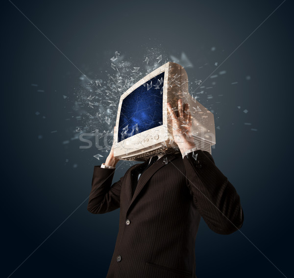 コンピュータモニター 画面 小さな 頭 コンピュータ ストックフォト © ra2studio
