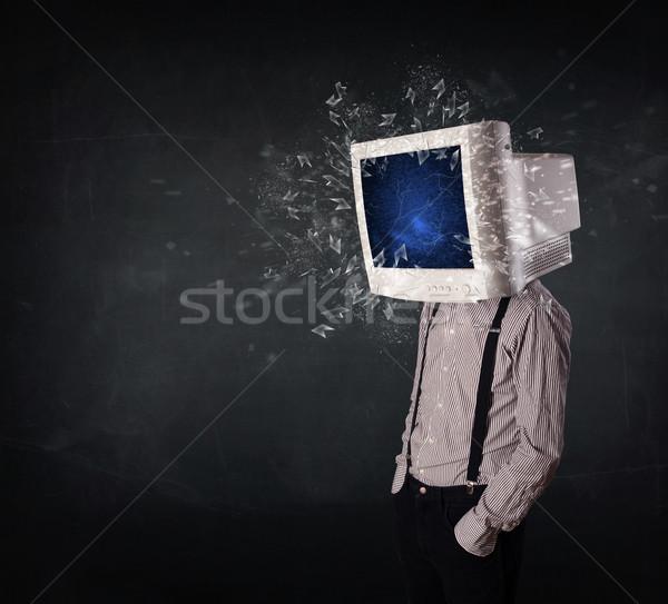 Monitor de computador tela jovem pessoas cabeça computador Foto stock © ra2studio