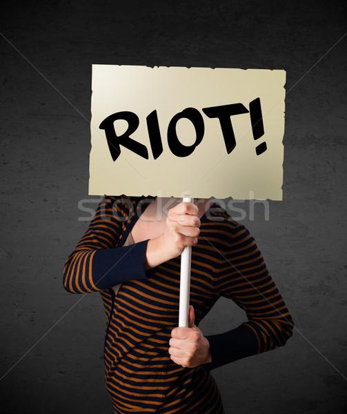 Halten Protest Zeichen Demonstration Bord Stock foto © ra2studio