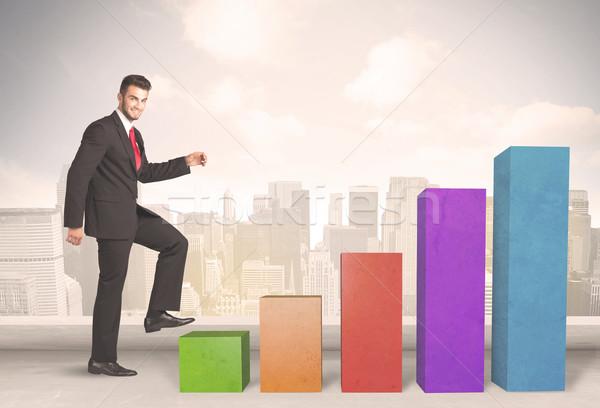 事業者 登山 アップ カラフル グラフ ビジネス ストックフォト © ra2studio