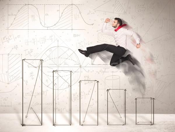 Szybko człowiek biznesu skoki w górę wykresy Zdjęcia stock © ra2studio