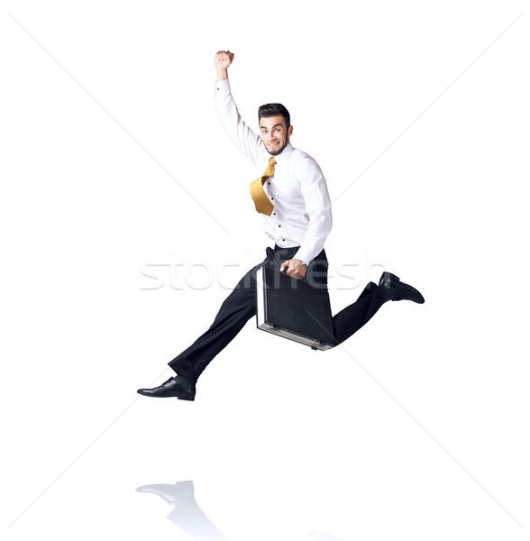 Stockfoto: Opknoping · zakenman · geïsoleerd · witte · ruimte · helpen
