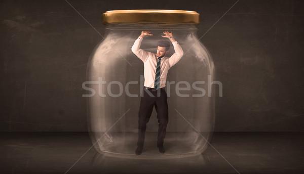 Biznesmen zamknięty szkła jar działalności człowiek Zdjęcia stock © ra2studio