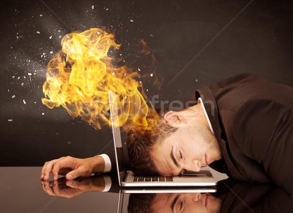 Business hoofd brandend depressief zakenman Stockfoto © ra2studio