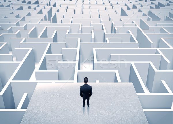 Geschäftsmann unendlich Labyrinth eleganten stehen Stock foto © ra2studio