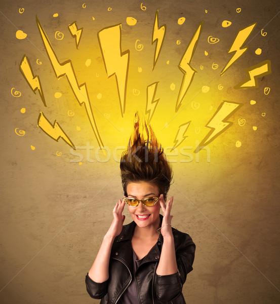 Fiatal nő hajstílus kézzel rajzolt boldog háttér nyár Stock fotó © ra2studio