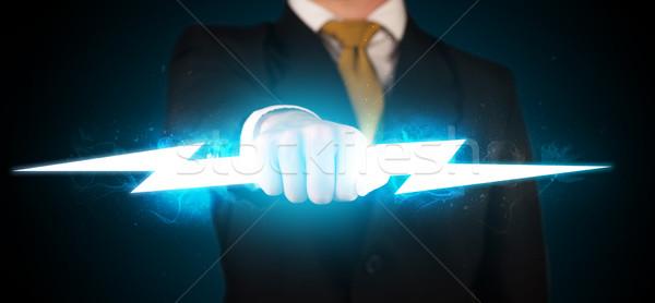 Człowiek biznesu ręce ognia Zdjęcia stock © ra2studio