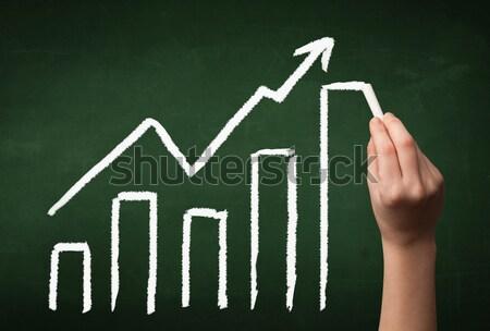 Hand drawing graph on blackboard Stock photo © ra2studio