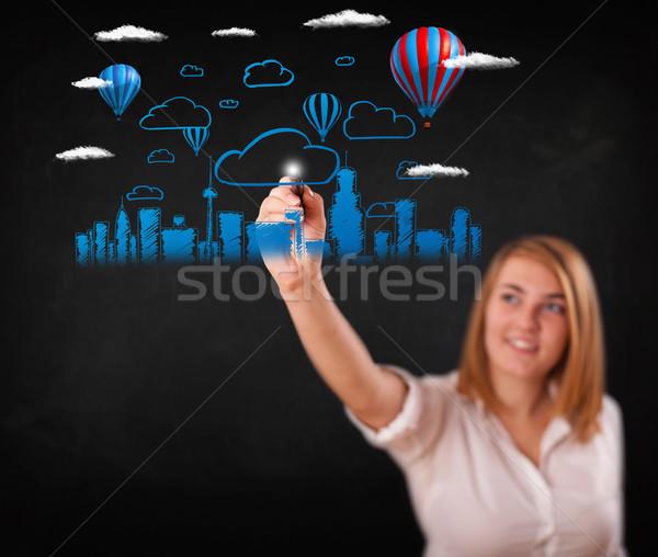Mooie vrouw stadsgezicht kleurrijk ballonnen wolken vrouw Stockfoto © ra2studio