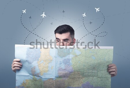 молодым человеком карта красивый мало самолеты Сток-фото © ra2studio