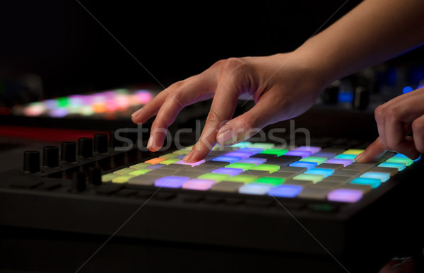 Stock photo: Hand mixing music on midi controller