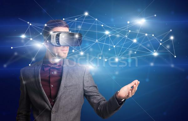 ビジネスマン バーチャル 現実 ゴーグル 驚いた ネットワーク ストックフォト © ra2studio