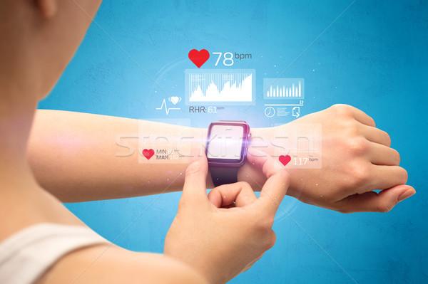Cardio vrouwelijke hand gezondheid toepassing iconen Stockfoto © ra2studio